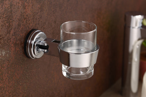 swivel tumbler cup hair dryer holder chrome suction glass mount