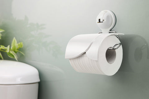 toilet paper holder white suction bath glass mount