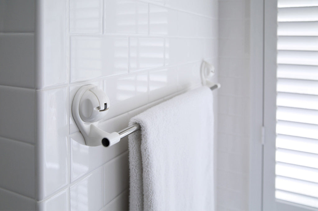 towel bar white suction bath tile wall