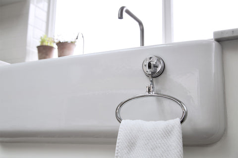 towel ring chrome suction bath sink