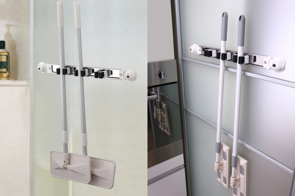 ... Utility Mop Broom Tool Holder Set Three Clips Suction Glass Kitchen  Mount