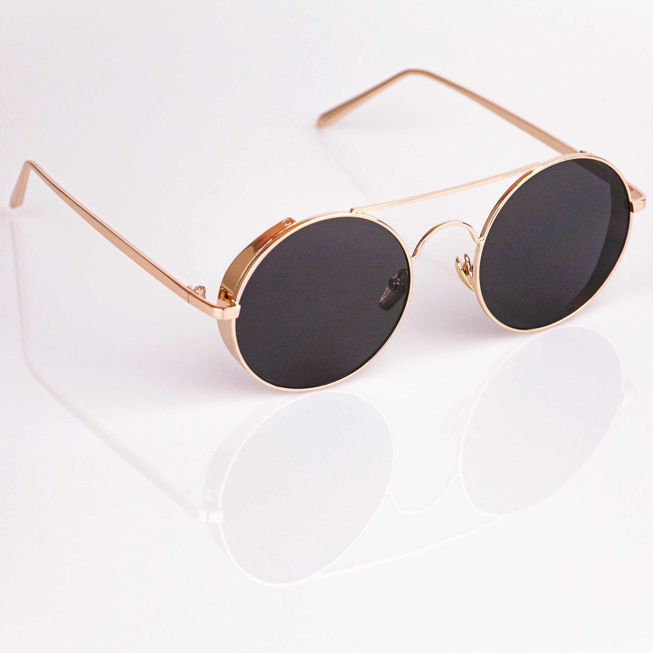 8021f5bbe Steampunk Sunglasses - Gold Frame - Black Lens - Hipster Sunglasses ...