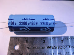 Capacitor Electrolytic 2200uF 80VDC Axial Nichicon