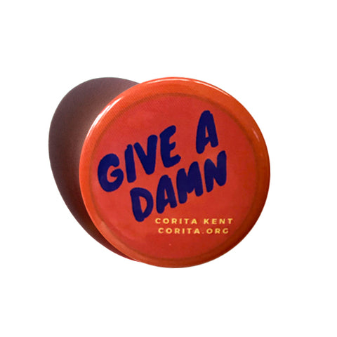 Give a Damn button - coral