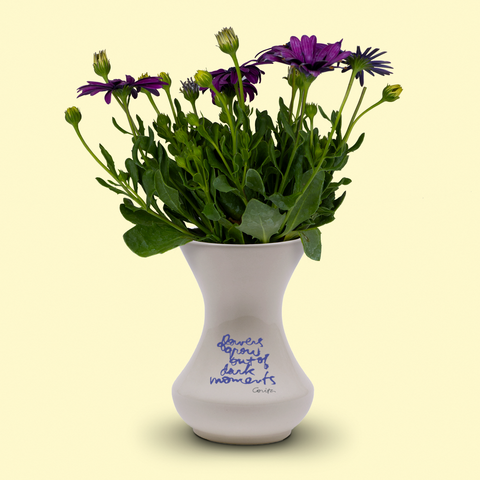 flowers grow out of dark moments vase