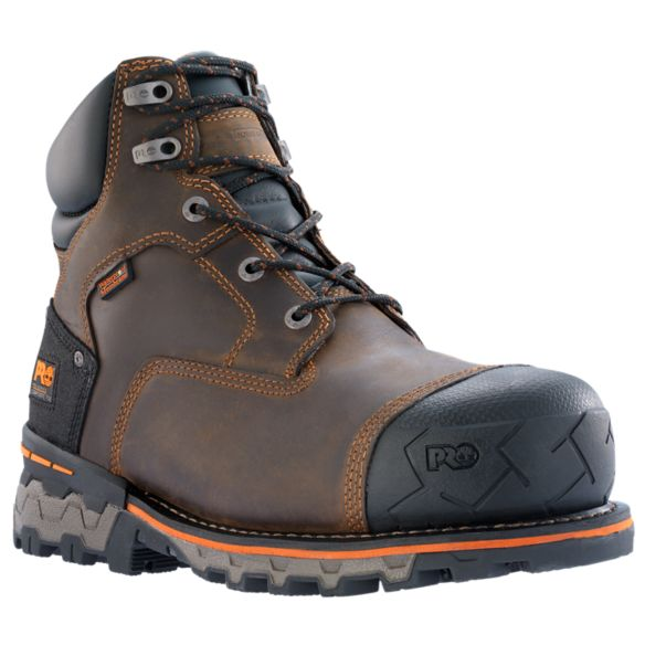 "Men's Timberland PRO® Boondock 6"" Comp Toe Work Boots Brown"