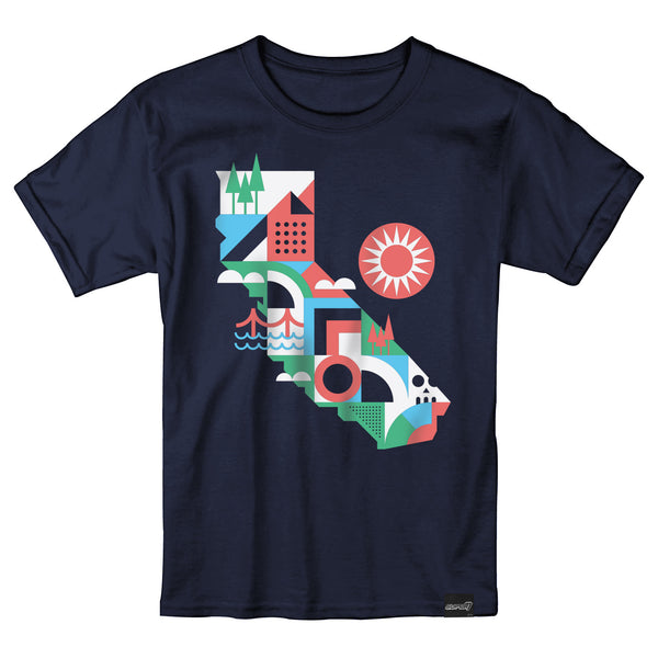 Geometric California Map T-Shirt