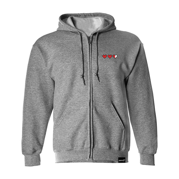 Tri-Heart Embroidered Zip Hoodie