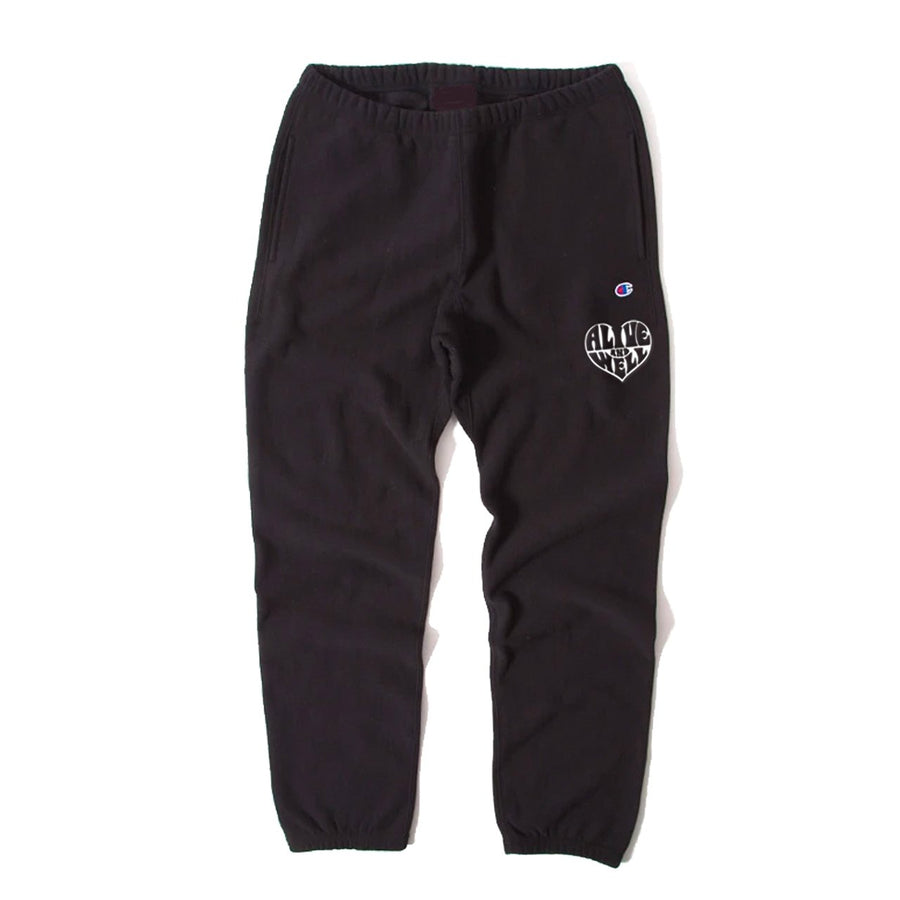 Heart Logo Reverse Weave Sweatpants Black