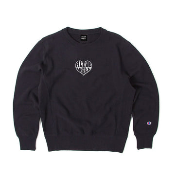 Heart Logo Champion Reverse Weave Crewneck Black