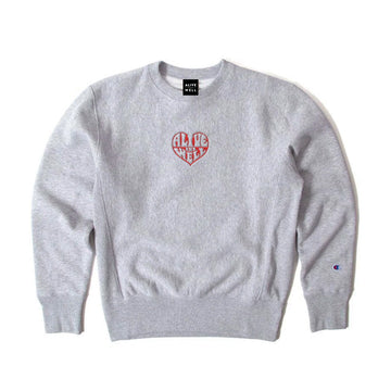 Heart Logo Reverse Weave Crewneck Oxford Grey