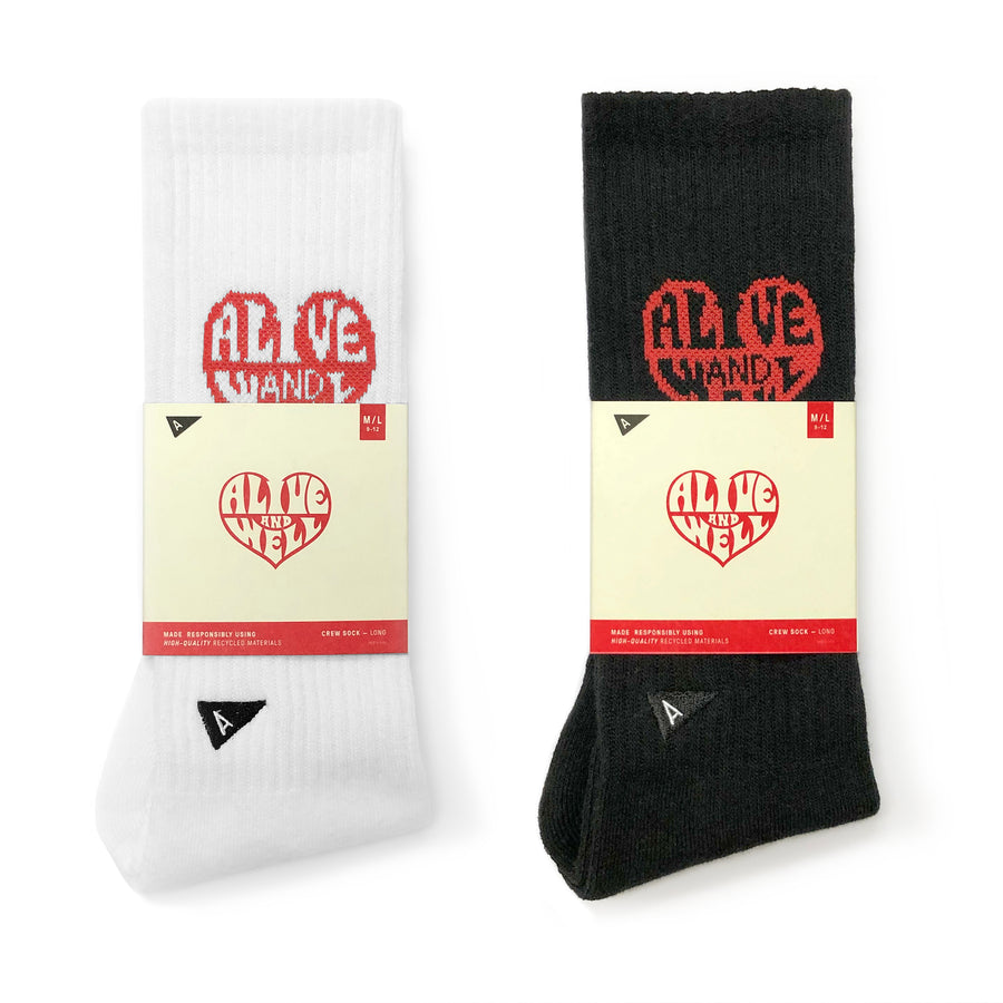 Heart Logo Socks Black & White Multi Pack
