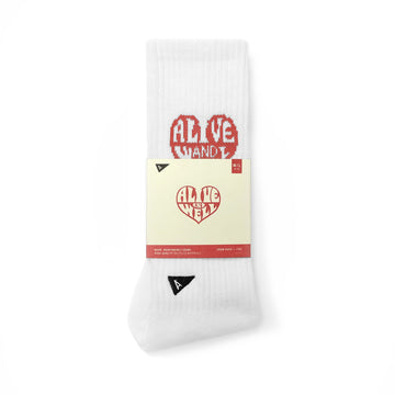 Heart Logo Socks White