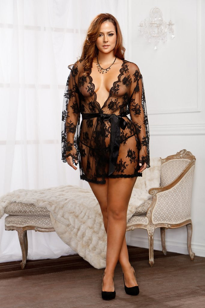 Icollection lace robe 7815