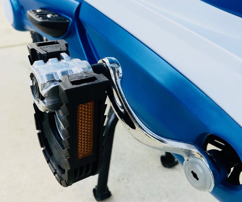 Want more range on your electric scooter? Our convenient and durable aluminum folding pedals will keep you going with or without a battery. They help extend battery life and are very effective when coupled with our pedal assist technology. They allow you