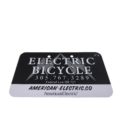 Electric Bike Custom License Plate