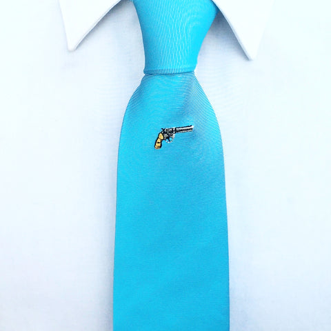 Blue Gun Embroidered Silk Tie
