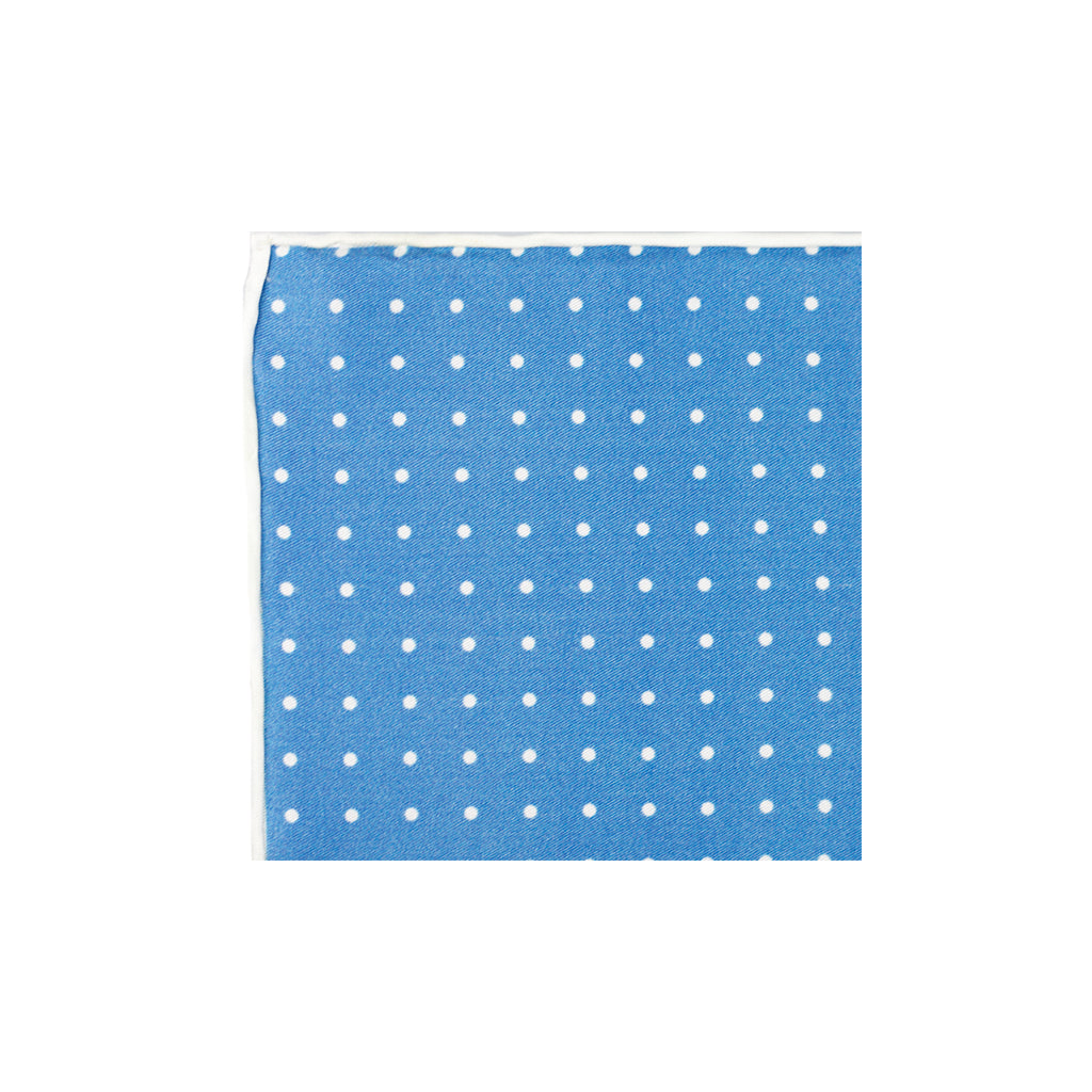 Blue Polka Dot Silk Pocket Square