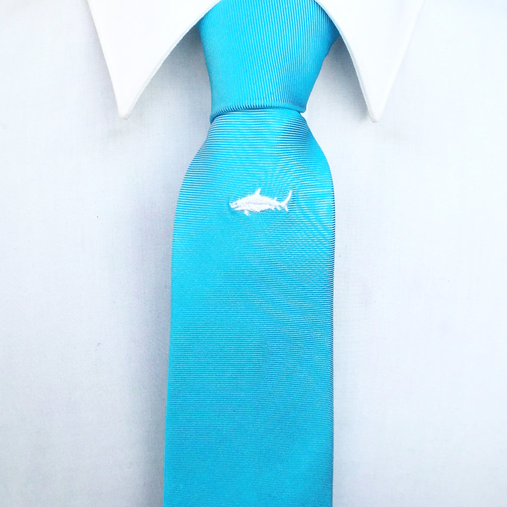 Blue Shark Embroidered Silk Tie