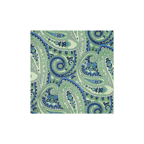 Green Paisley Silk Pocket Square