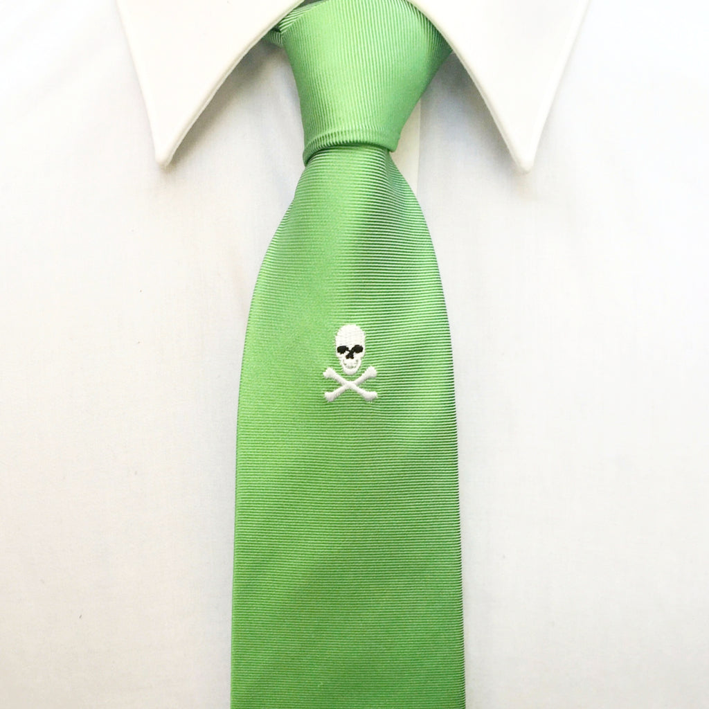 Green Skull & Crossbones Embroidered Silk Tie