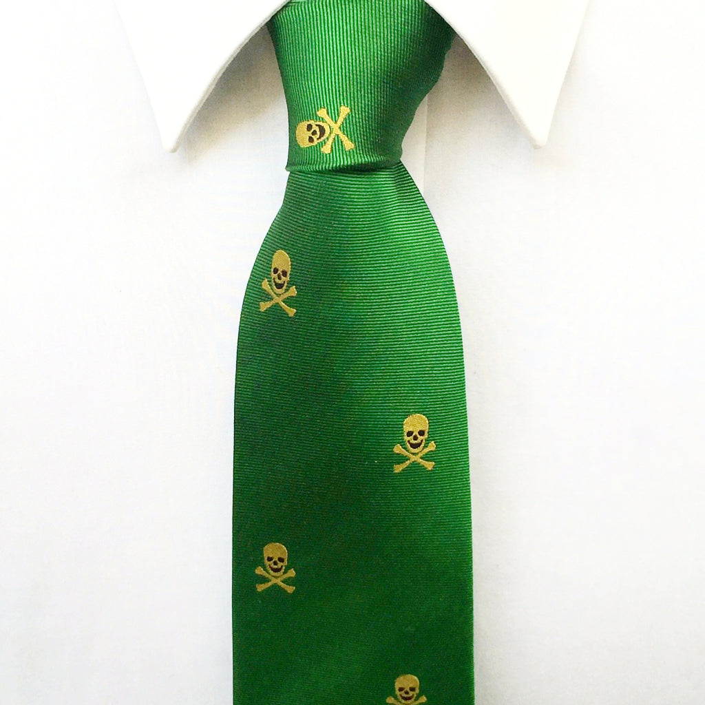 Green Skull & Crossbones Silk Tie