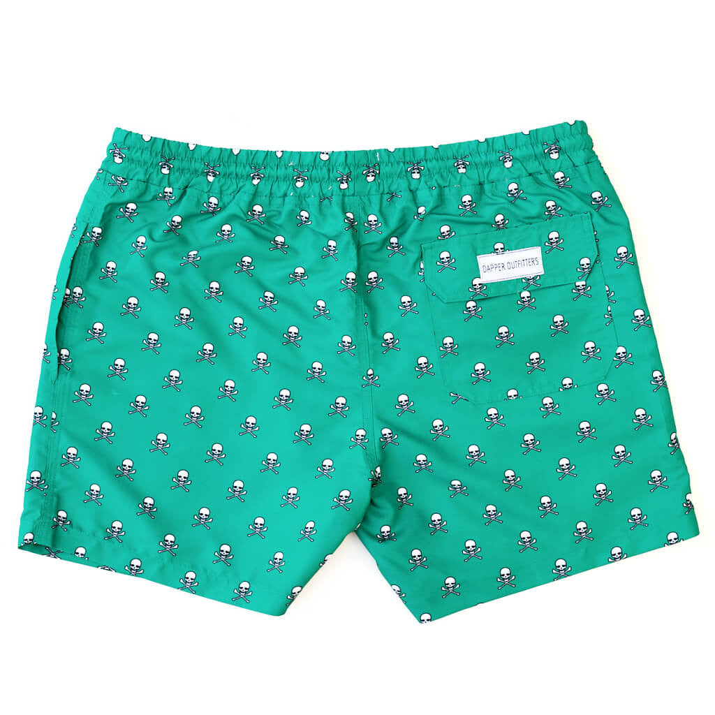mens green skull and crossbones swim trunks