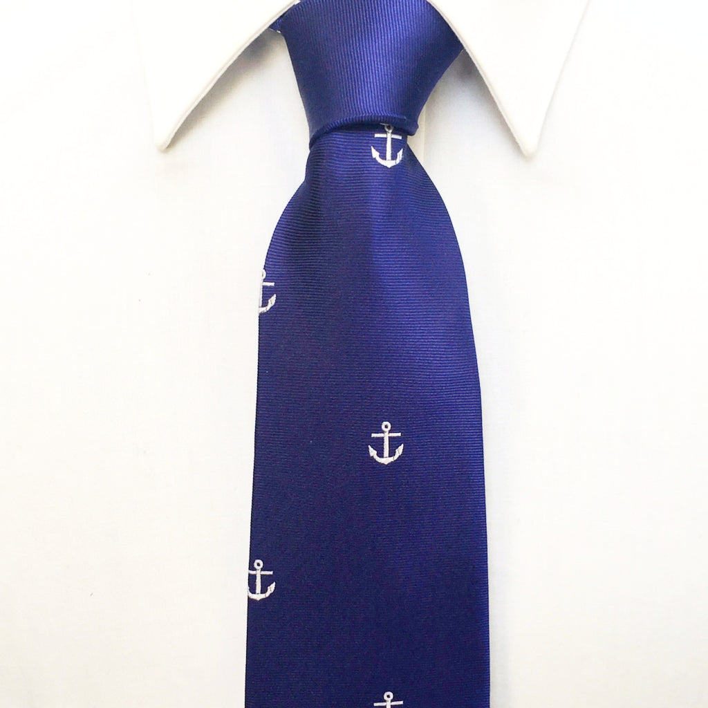 Knitted Neck Tie - Blue Anchor Embroidered Silk Tie