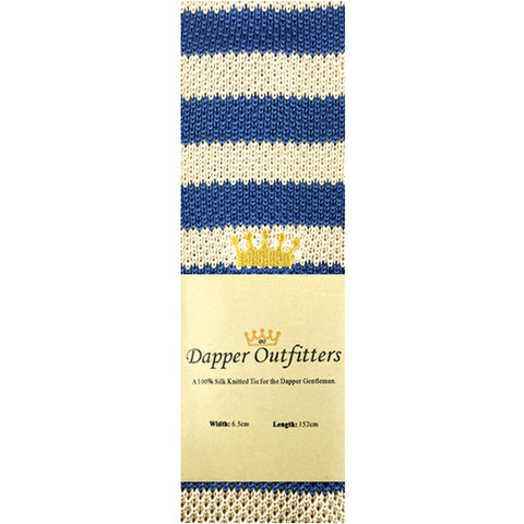 Knitted Neck Tie - Blue And White Striped 'Crown' Silk Knitted Tie