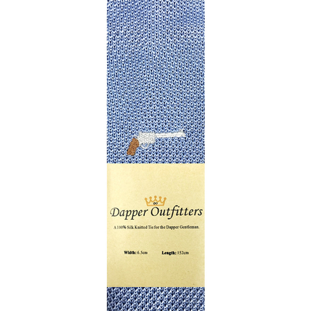 Knitted Neck Tie - Blue Gun Silk Knitted Tie