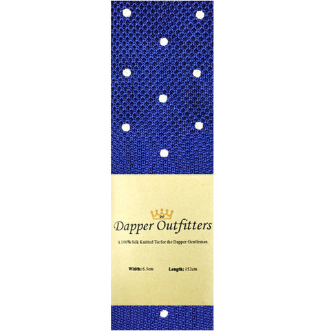 Knitted Neck Tie - Blue Polka Dot Silk Knitted Tie