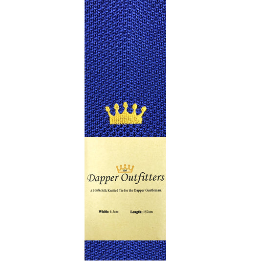Knitted Neck Tie - Blue Silk Knitted Tie With Crown Embroidery