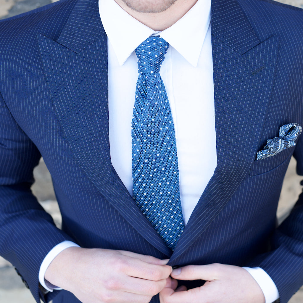 Knitted Neck Tie - Blue White Dotted Silk Knitted Tie