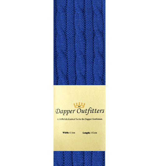 Knitted Neck Tie - Blue Wool Cable Knit Knitted Tie