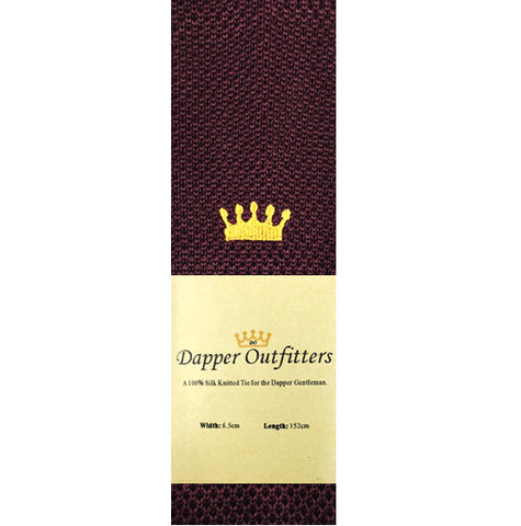Knitted Neck Tie - Burgundy Crown Knitted Tie