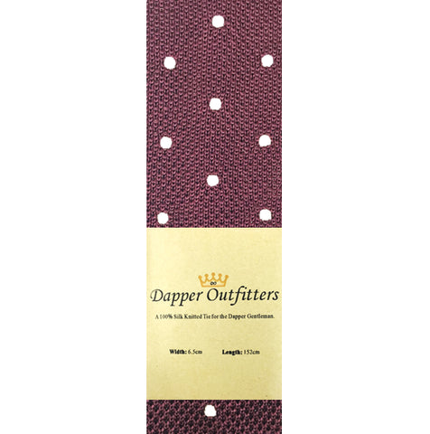 Knitted Neck Tie - Burgundy Polka Dot Silk Knitted Tie