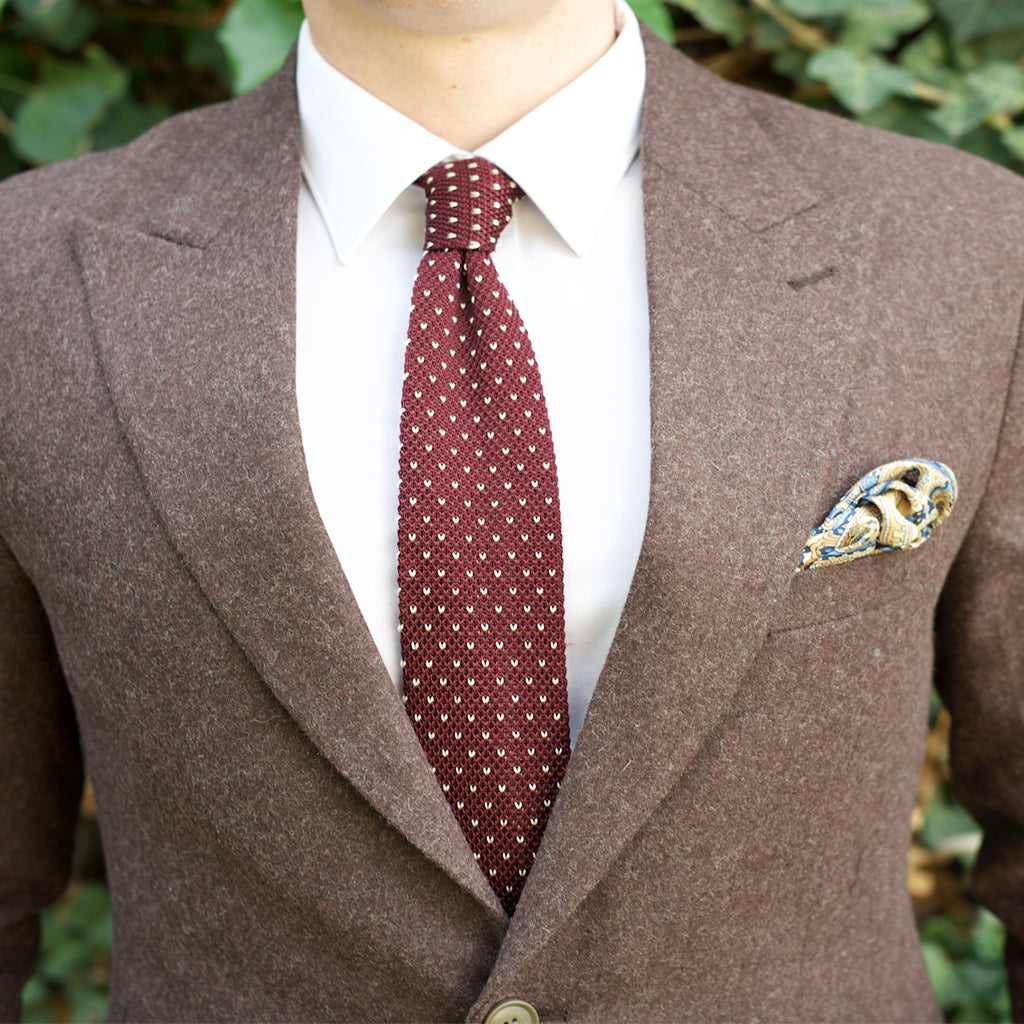 Knitted Neck Tie - Burgundy White Dotted Knitted Tie
