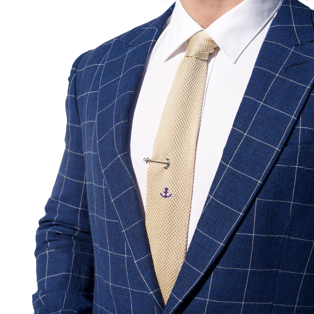 Knitted Neck Tie - Cream Anchor Silk Knitted Tie