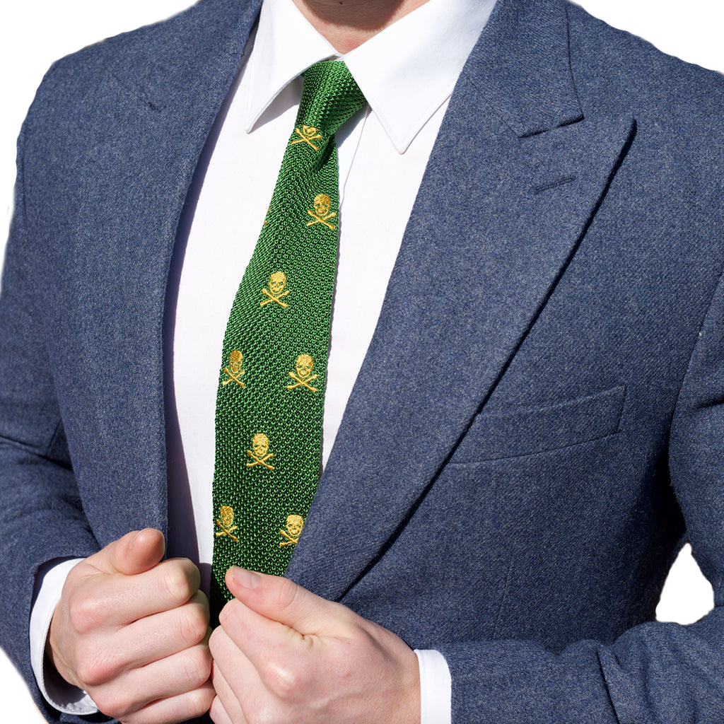 Knitted Neck Tie - Green Skull & Crossbones Silk Knitted Tie