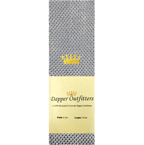 Knitted Neck Tie - Grey Crown Silk Knitted Tie