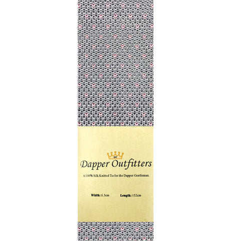 Knitted Neck Tie - Grey Pink Dotted Silk Knitted Tie