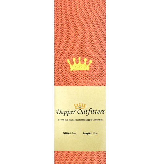 Knitted Neck Tie - Orange 'Crown' Fine Silk Knitted Tie