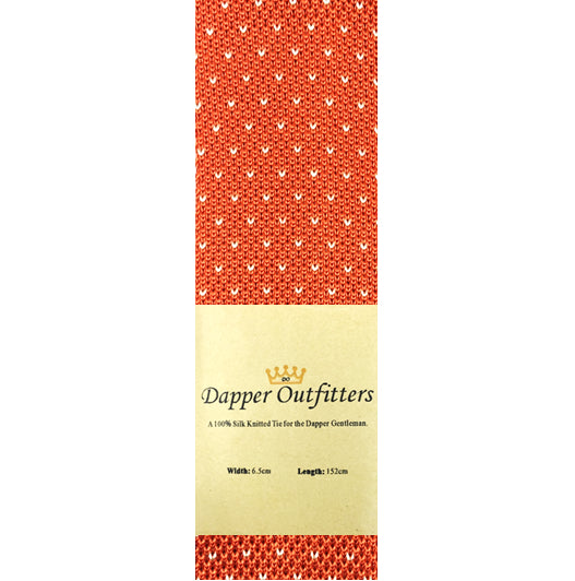 Knitted Neck Tie - Orange White Dotted Silk Knitted Tie