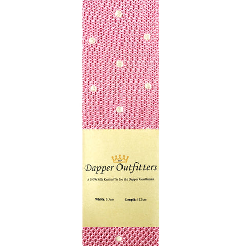Knitted Neck Tie - Pink White Polka Dot Silk Knitted Tie