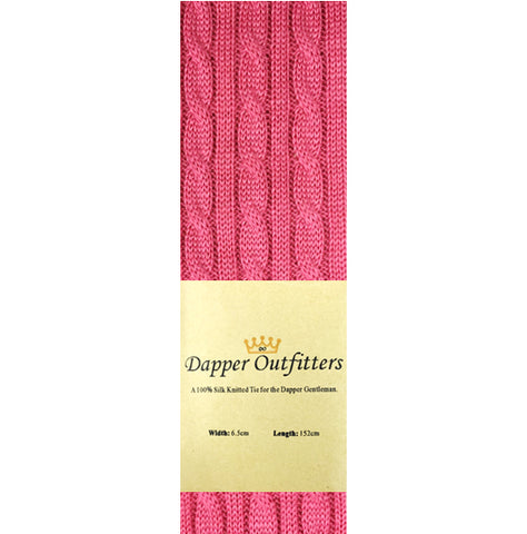 Knitted Neck Tie - Pink Wool Cable Knit Knitted Tie