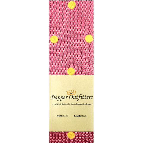 Knitted Neck Tie - Pink Yellow Polka Dot Knitted Tie