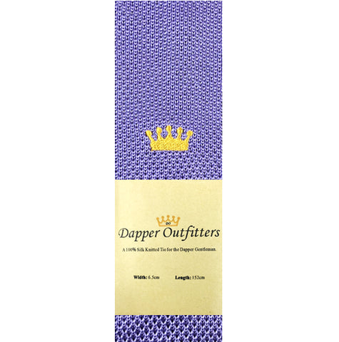 Knitted Neck Tie - Purple 'Crown' Fine Silk Knitted Tie
