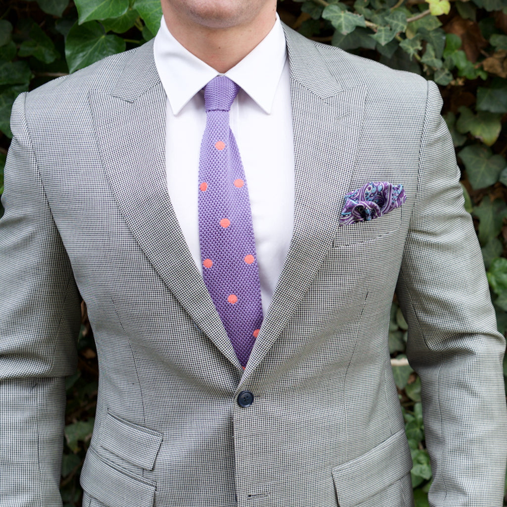 Knitted Neck Tie - Purple Melon Polka Dot Silk Knitted Tie