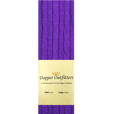 Knitted Neck Tie - Purple Wool Cable Knit Knitted Tie