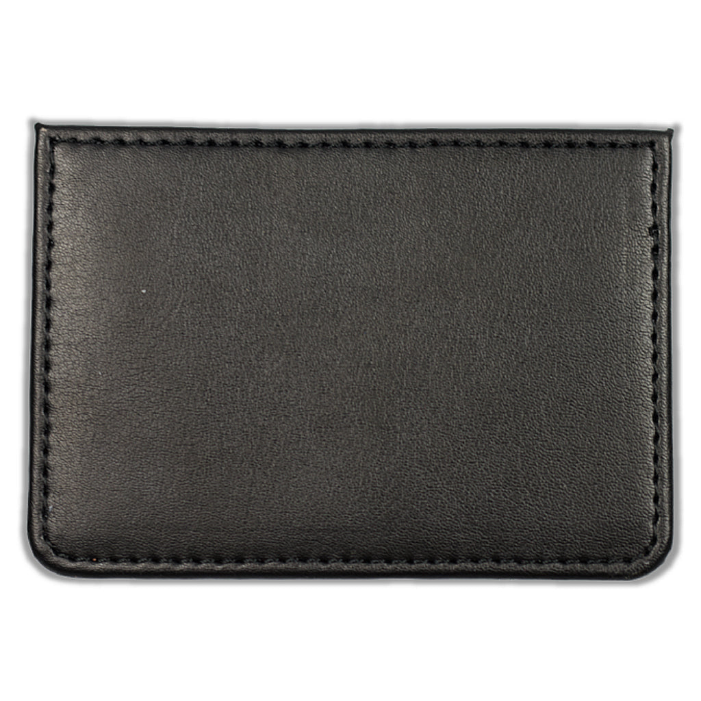 Leather Card Holder With Anchor Embroidery